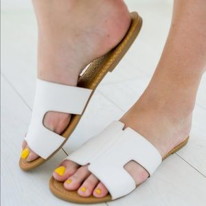 Shoes - White leather flats
